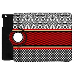 Background Damask Red Black Apple iPad Mini Flip 360 Case