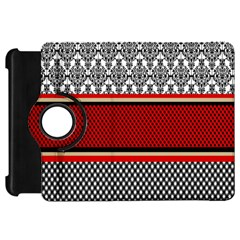 Background Damask Red Black Kindle Fire HD Flip 360 Case