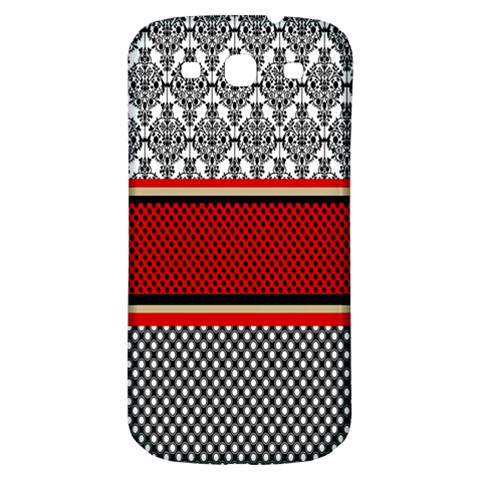 Background Damask Red Black Samsung Galaxy S3 S III Classic Hardshell Back Case