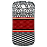 Background Damask Red Black Samsung Galaxy S3 S III Classic Hardshell Back Case Front