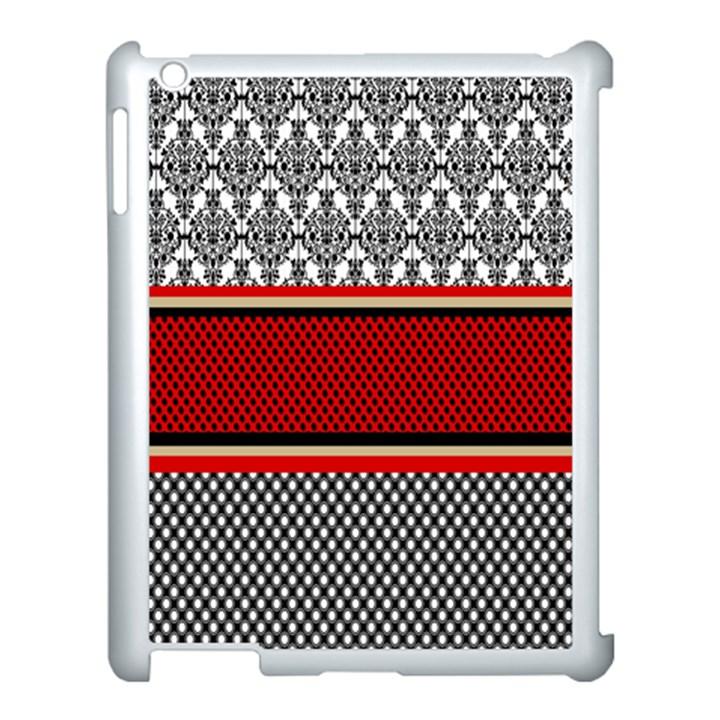 Background Damask Red Black Apple iPad 3/4 Case (White)