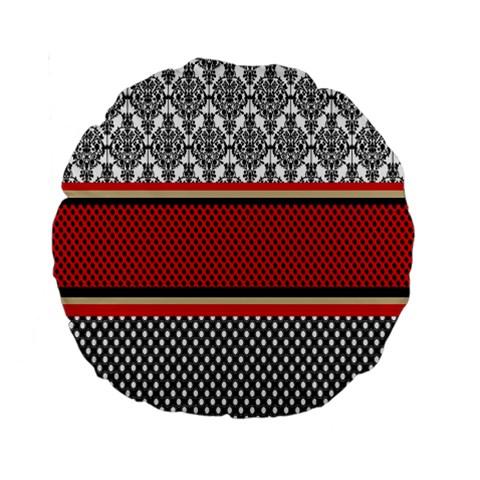 Background Damask Red Black Standard 15  Premium Round Cushions