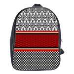 Background Damask Red Black School Bags (XL)  Front