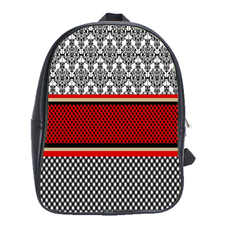 Background Damask Red Black School Bags (XL)