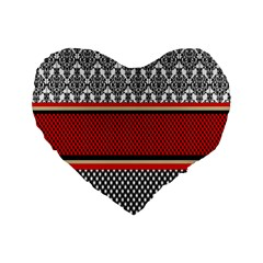 Background Damask Red Black Standard 16  Premium Heart Shape Cushions