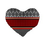 Background Damask Red Black Standard 16  Premium Heart Shape Cushions Front