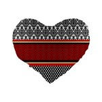 Background Damask Red Black Standard 16  Premium Heart Shape Cushions Back