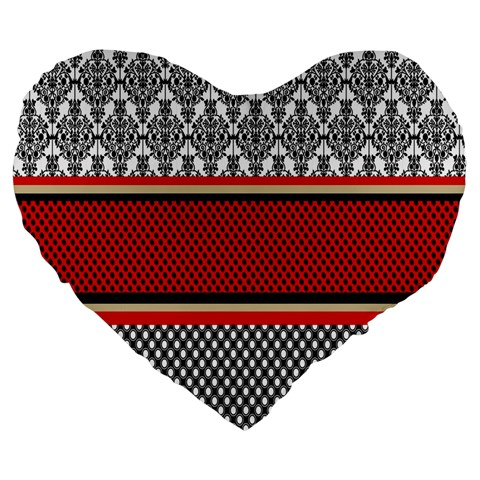Background Damask Red Black Large 19  Premium Heart Shape Cushions