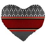 Background Damask Red Black Large 19  Premium Heart Shape Cushions Front