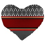 Background Damask Red Black Large 19  Premium Heart Shape Cushions Back