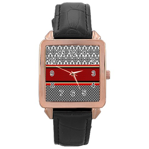 Background Damask Red Black Rose Gold Leather Watch
