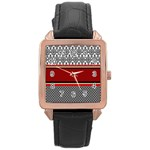 Background Damask Red Black Rose Gold Leather Watch  Front