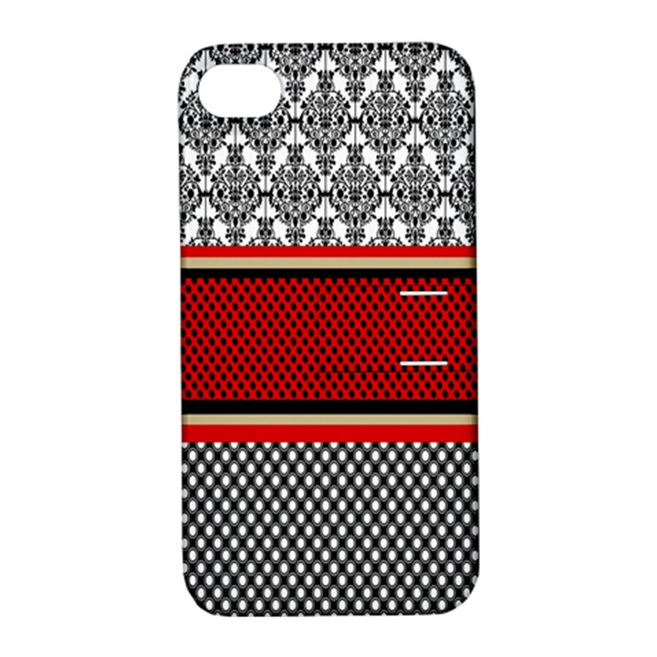 Background Damask Red Black Apple iPhone 4/4S Hardshell Case with Stand