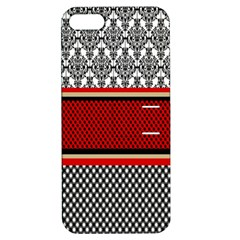 Background Damask Red Black Apple iPhone 5 Hardshell Case with Stand