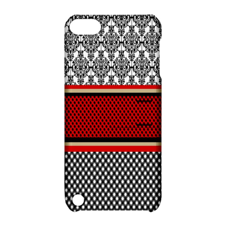 Background Damask Red Black Apple iPod Touch 5 Hardshell Case with Stand