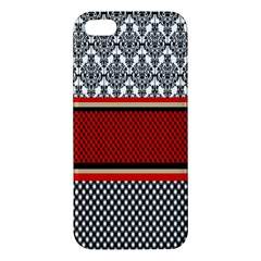 Background Damask Red Black Apple iPhone 5 Premium Hardshell Case
