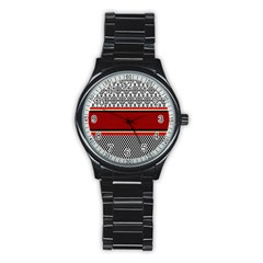 Background Damask Red Black Stainless Steel Round Watch
