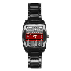 Background Damask Red Black Stainless Steel Barrel Watch