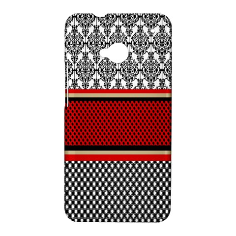 Background Damask Red Black HTC One M7 Hardshell Case