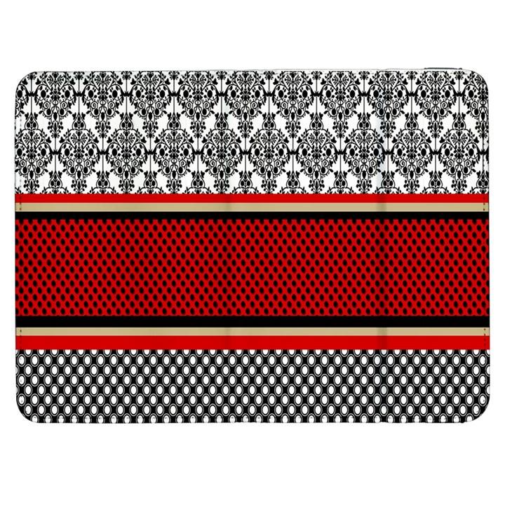Background Damask Red Black Samsung Galaxy Tab 7  P1000 Flip Case