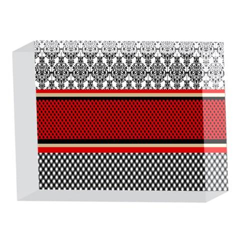 Background Damask Red Black 5 x 7  Acrylic Photo Blocks