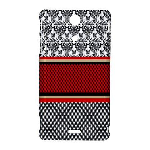 Background Damask Red Black Sony Xperia TX
