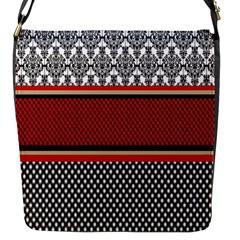 Background Damask Red Black Flap Messenger Bag (S)
