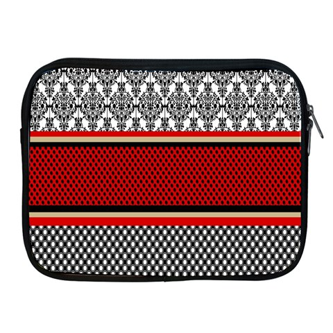 Background Damask Red Black Apple iPad 2/3/4 Zipper Cases