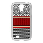 Background Damask Red Black Samsung GALAXY S4 I9500/ I9505 Case (White) Front