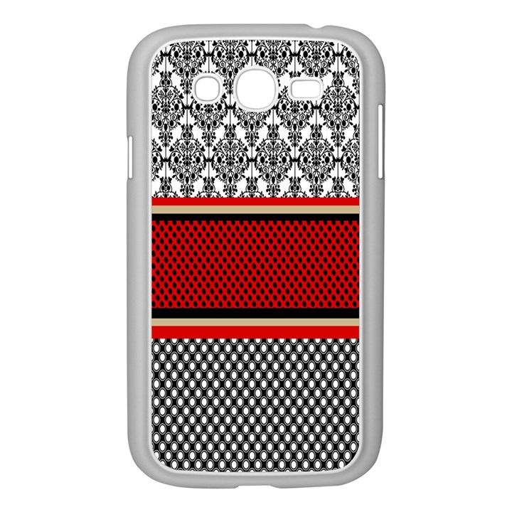 Background Damask Red Black Samsung Galaxy Grand DUOS I9082 Case (White)