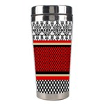 Background Damask Red Black Stainless Steel Travel Tumblers Left