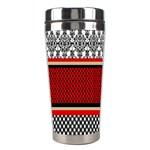 Background Damask Red Black Stainless Steel Travel Tumblers Center