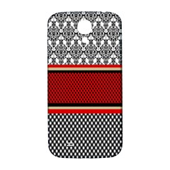Background Damask Red Black Samsung Galaxy S4 I9500/I9505  Hardshell Back Case