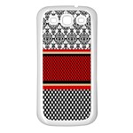 Background Damask Red Black Samsung Galaxy S3 Back Case (White) Front
