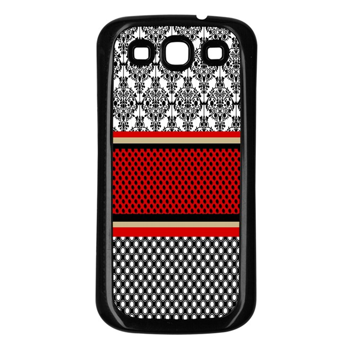 Background Damask Red Black Samsung Galaxy S3 Back Case (Black)