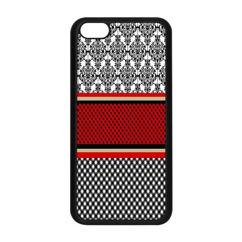 Background Damask Red Black Apple iPhone 5C Seamless Case (Black)