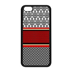 Background Damask Red Black Apple iPhone 5C Seamless Case (Black)