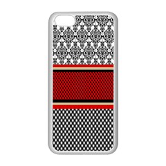Background Damask Red Black Apple iPhone 5C Seamless Case (White)