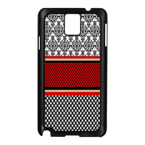Background Damask Red Black Samsung Galaxy Note 3 N9005 Case (Black)