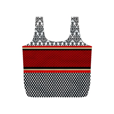Background Damask Red Black Full Print Recycle Bags (S)