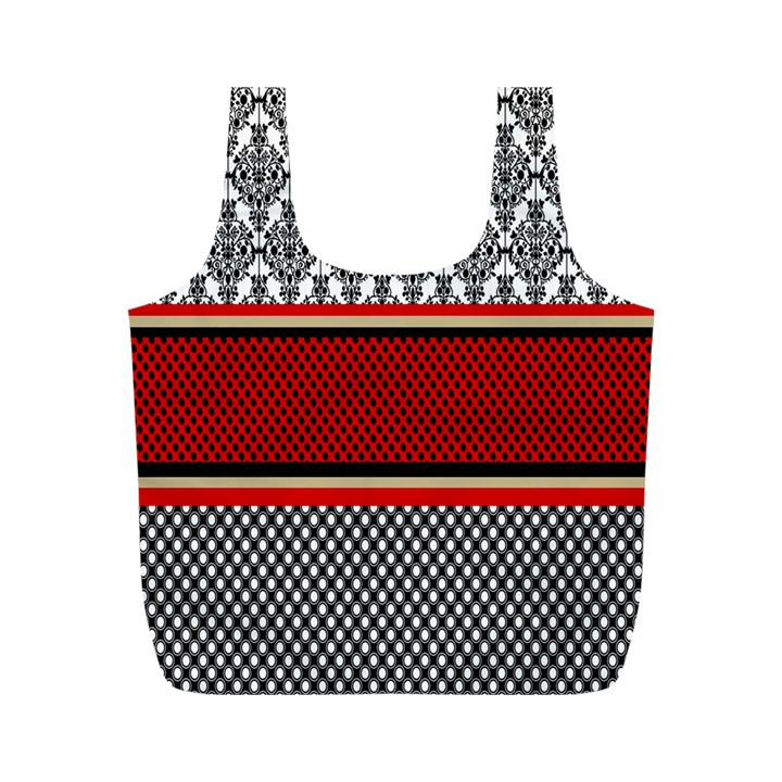 Background Damask Red Black Full Print Recycle Bags (M)