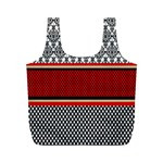 Background Damask Red Black Full Print Recycle Bags (M)  Back