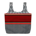 Background Damask Red Black Full Print Recycle Bags (L)  Back