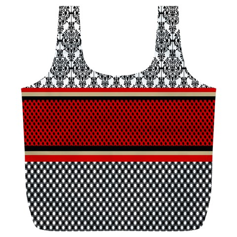 Background Damask Red Black Full Print Recycle Bags (L)