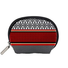Background Damask Red Black Accessory Pouches (Small)