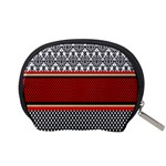 Background Damask Red Black Accessory Pouches (Small)  Back