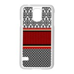 Background Damask Red Black Samsung Galaxy S5 Case (White) Front