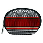 Background Damask Red Black Accessory Pouches (Medium)  Front