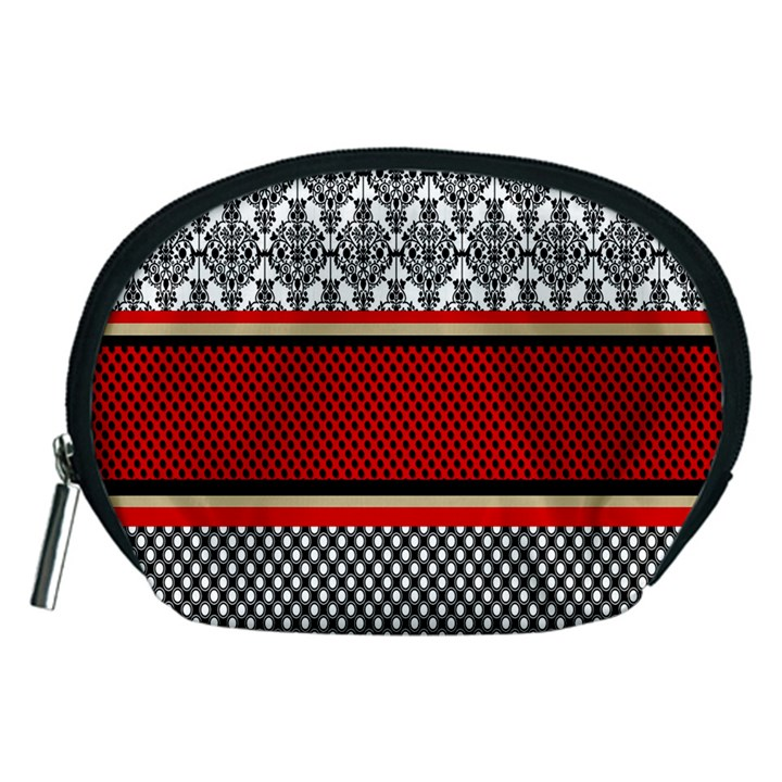 Background Damask Red Black Accessory Pouches (Medium)