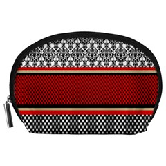 Background Damask Red Black Accessory Pouches (Large)